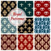 Royal floral seamless patterns set Stock Illustration