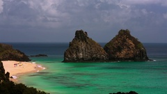 Two brothers rock Fernando de Noronha Stock Footage