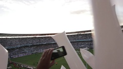 Argentine Soccer Audience in Stadium  Stock Footage