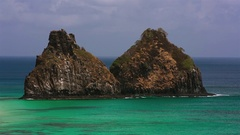 Two brothers rock Fernando Noronha Stock Footage