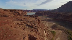 GLENN CANYON LAKE POWELL HITE AERIAL FLYING OVER LANDSCAPE Stock Footage