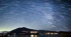 Night sky over Mount Konocti, Lake County, California Stock Footage