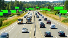 4K Many Blank Billboards Advertising Signs, Highway Road Traffic, Green Screen Stock Footage