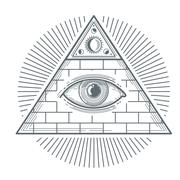 Mystical occult sign with freemasonry eye symbol vector illustration Piirros