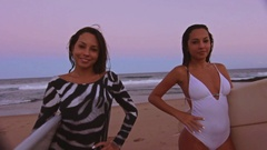 Two Attractive Surf Girls Standing Holding Surfboards On The Shore At The Beach Stock Footage
