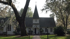 Christ Episcopal Church, St Simons Island, Georgia, USA Stock Footage