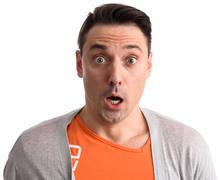 Expressive portrait of shocked man Stock Photos