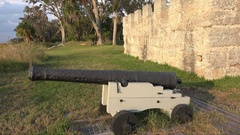Tilt up, Fort Frederica, St Simons Island, Georgia, USA Stock Footage