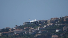 Airbus A 321 OY-VKT of Thomas Cook Discending to Madeira Airport Stock Footage