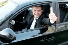 Man very happy after purchasing his new car Stock Photos