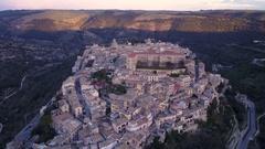 Dusk aerial shot of Ragusa Ibla Stock Footage