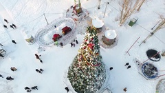 Christmas tree on the central square from a bird's eye view Stock Footage