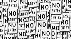 Black and White No Entry Signs, Variation 1 Stock Illustration
