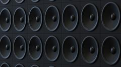 Low Key Lit Modern Black Amplifier Wall Array Stock Illustration
