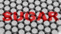 Soft Drink Can Array with Word Sugar Stock Illustration