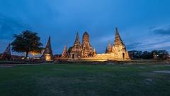 Ayutthaya Historical Park day to night timelapse, Thailand, 4K Time lapse Stock Footage