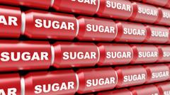 Tightly Packed Wall of Shiny Red Sugar Labelled Cans Stock Illustration