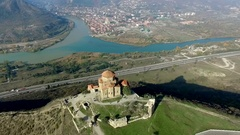 View of Jvari Monastery in Kutaisi from height, aerial shoot Stock Footage