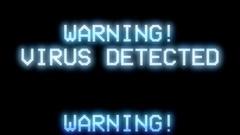 Warning virus detected dark Stock Footage
