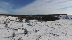 Beautiful panoramic snowy landscape shot from quadrocopter Stock Footage