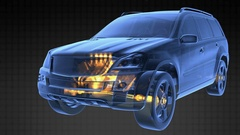 Car rotate. visible engine and gear transmission Stock Footage