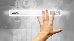 Www written in search bar - male hand pressing Search button Stock Photos