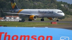 Airbus A321 of Thomas Cook Airlines Taxiing at Madeira Funchal Airport Stock Footage