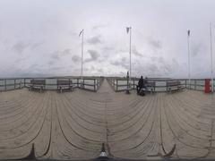 360VR View Pier at Weissenhaeuser Strand, Germany. - 360grad-filme.de Stock Footage
