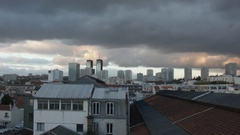 Timelapse of the night falling on the city of Bagnolet in Seine Saint Denis Stock Footage