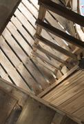 The stairs and walls of wood, architectural geometry, top view Stock Photos