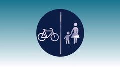 Split pedestrian & bicycle path Stock Footage