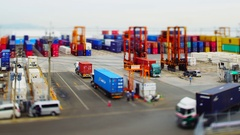 Time lapse of busy container terminal in Fukuoka Stock Footage