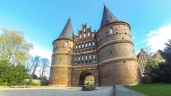 Holsten Gate (Holstentor) in Lubeck, Germany Stock Footage
