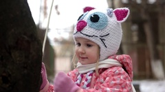 Close-Up Portrait of 3 Year Old Funny Girl Having Fun and Playing Outdoor Stock Footage