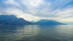 Cloudy landscape of Como Lake. Bellagio town, Italy Stock Footage