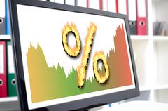 Interest rates concept on a computer screen Stock Photos