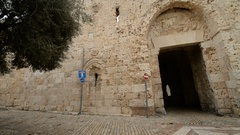 Zion gate in the old city of the Jerusalem, Israel. Stock Footage