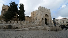 Street scene with entrance to the Tower of David in the background, Jerusalem Stock Footage