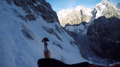 POV of a man ice climbing with ice axes. Stock Footage
