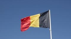 Famous state symbol fabric of Belgium on flagpole slow-mo 1920X1080 HD foota Stock Footage