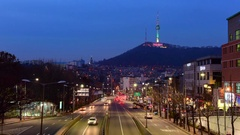 Time lapse of traffic in Seoul City and Namsan Tower , South Korea Stock Footage