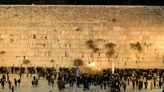Local people and tourists in front of Western wall, Jerusalem, Israel Stock Footage