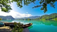 Boats in Bled Lake (Blejsko jezero), Slovenia Stock Footage
