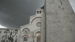 Italian small city, Pierelcina church in cloudy weather Stock Footage