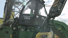 Advertising shot of a wood chipper, close up Stock Footage