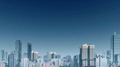 Abstract city skyline skyscrapers panorama 4K Stock Footage