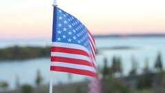 American Flag Fluttering in the Wind Stock Footage