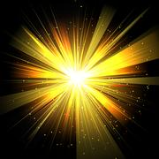 Star with rays white yellow in space isolated and effect tunnel Stock Illustration