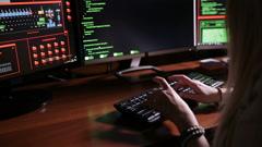 Hacker typing on keyboard computer Stock Footage
