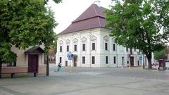 Old house on Rotuses aikste in Kaunas, Lithuania Stock Footage